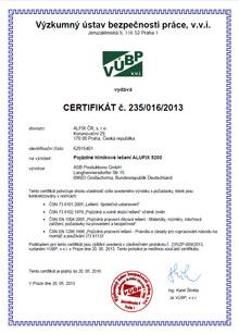 Certifikát pojízdné lešení, hliníkové lešení ALUFIX 5202-5207