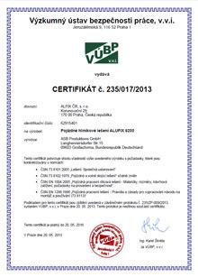 Certifikát pojízdné lešení, hliníkové lešení ALUFIX 6202-6208