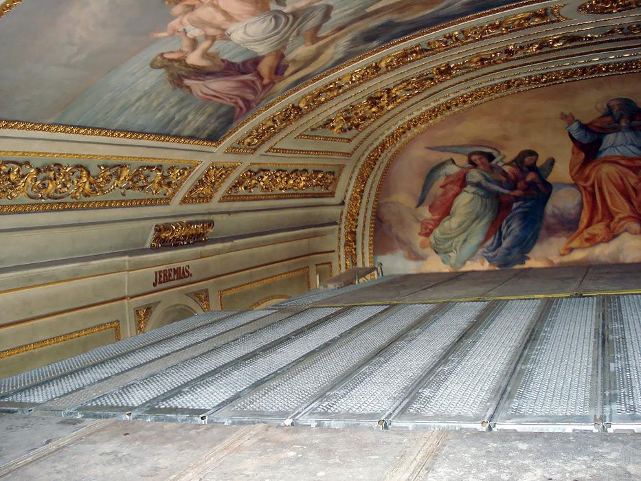 Kaple sv. Kříže - fasádní lešení