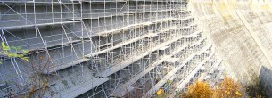 Oprava Vranovské přehrady - modulové, fasádní lešení