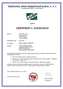 Certifikát fasádní lešení ALFIX 70