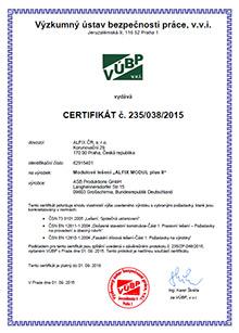 Certifikát modulové lešení - ALFIX MODUL plus