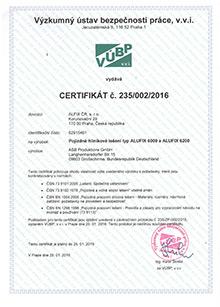Certifikát pojízdné lešení, hliníkové lešení ALUFIX 6003-6018