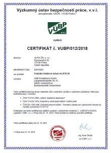 Certifikát pojízdné lešení, hliníkové lešení ALUFIX 80